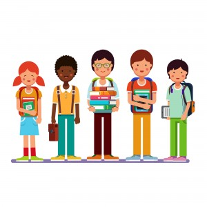 Multi ethnic group of school students kids standing together wearing backpacks holding books, textbooks and tablet computers. Happy pupils and friends. Flat style modern vector illustration.